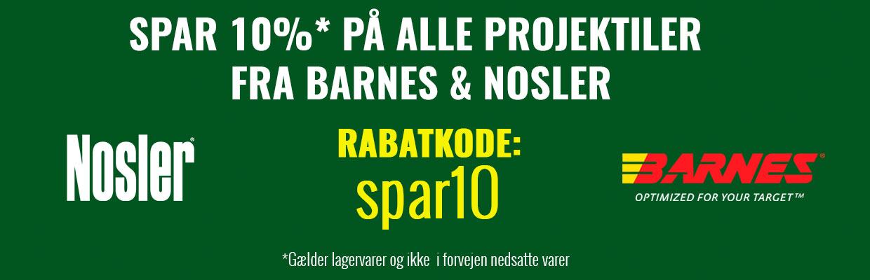 Spar 10 % på Noslar og Barnes projektiler