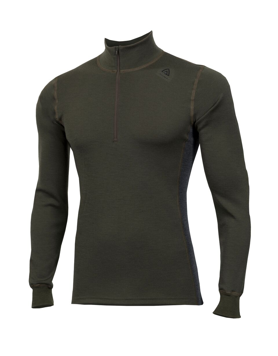 Aclima Warmwool Mock Neck With Zip Olive Night/Marengo L thumbnail