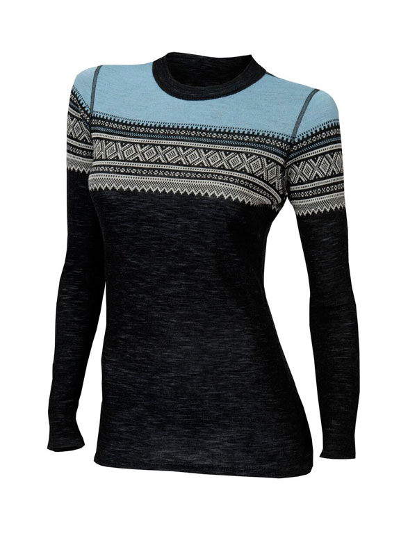 Image of   Aclima DesignWool Woman Marius Crew Neck Jet Black / Ice Blue L