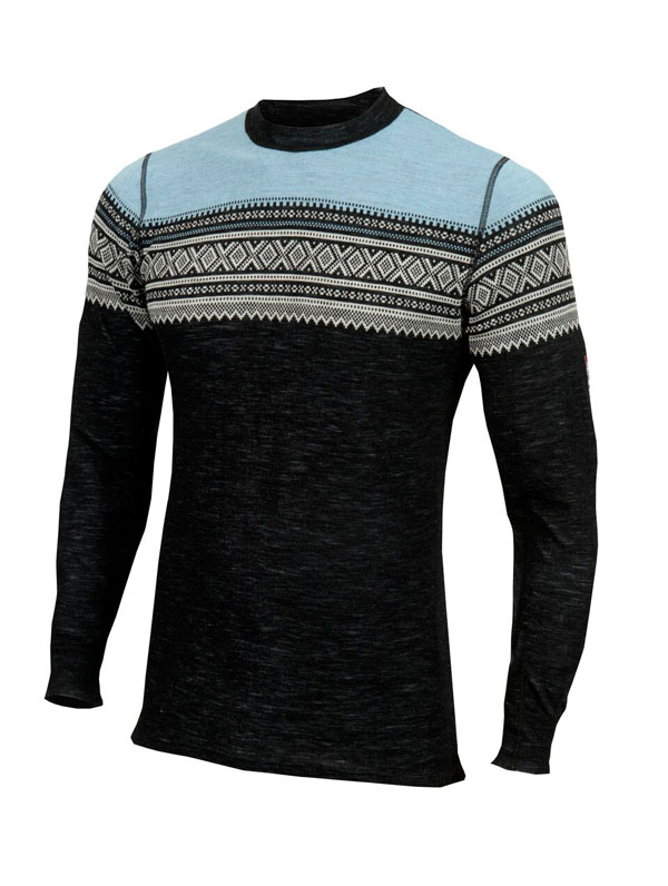 Image of   Aclima DesignWool Marius Crew Neck Jet Black/Ice Blue S
