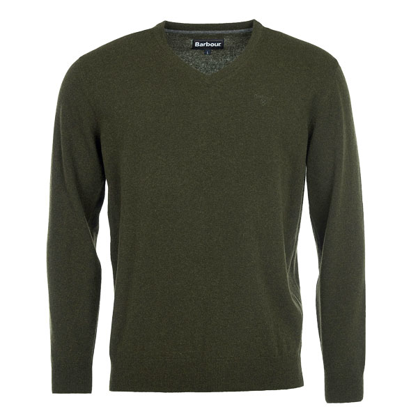 Image of Barbour Essential Lambswool V-Neck Sweat Olive L